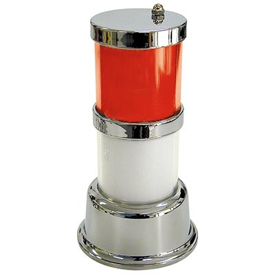 Classic Tower Light, 2-Tier, Red Top / White Bottom, Chrome Base - 11-1782-29 - Item Photo