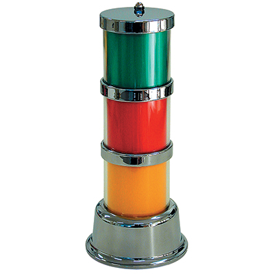 3-Tier Classic Tower Light, Chrome Frame with Color Inserts - 11-1783 - Item Photo