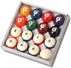 "Belgian Aramith ""Crown Standard"" Pool Ball Set with 2-1/4"" Cue Ball - 26-1028-00B - Item Photo"