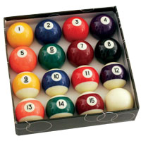 "Standard 2-1/4"" Pool Ball Set with 2-3/8"" Cue Ball - 26-2002-01 - Item Photo"
