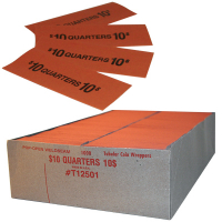 27-1020-00 - $.25 Quarter Flat Coin Wrapper, Capacity $10.00