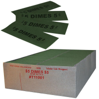27-1045-00 - $.10 Dime Flat Coin Wrappers, Capacity $5.00