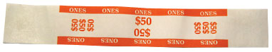 $50 Imprinted Orange Currency Bands - 1 Qty: 1,000 Wrappers - 27-1021-00 - Item Photo