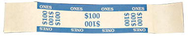 $100 Imprinted Blue Currency Bands - 1 Qty: 1,000 Wrappers - 27-1022-00 - Item Photo