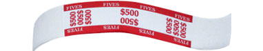 $500 Imprinted Red Currency Bands - 1 Qty: 1,000 Wrappers - 27-1023-00 - Item Photo