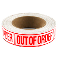 """Out of Order"" Label, Red Lettering on White Background - 27-1218-00 - Item Photo"