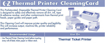 Thermal Printer Cleaning Cards, Box of 25 - 29-0339-00 - Item Photo