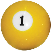 26-1027-01B - INDIVIDUAL BELGIAN POOL BALL EA/BOX=16 #1 BALL 2-1/4