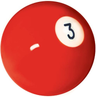 26-1027-03B - INDIVIDUAL BELGIAN POOL BALL EA/BOX=16 #3 BALL 2-1/4