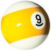 "Belgian aramith 2-1/4"" yellow/white #9 Ball - 26-1027-09B"