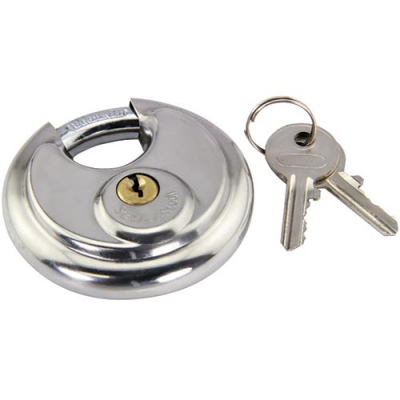 Disc Style Padlock with 2 Keys - 30-2328-01 - Item Photo
