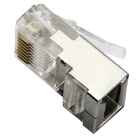 32-0095-10 - RJ45 8P8C Modular Plug, Shielded, 2-Prong Stranded Flat Cable