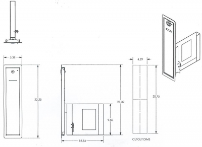 Slim Ticket Door with 4,000 Ticket Bin - 40-0390-00 - Mounting View