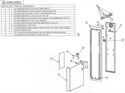 Slim Ticket Door with 4,000 Ticket Bin - 40-0390-00 - Exploded View