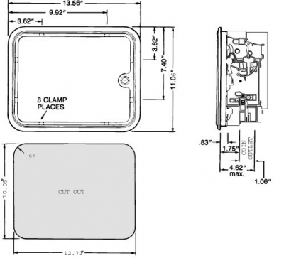 Multi-Player Standard Door, Four Entry without Harness, Meter or Box Assembly - 40-0325-00 - Mounting View