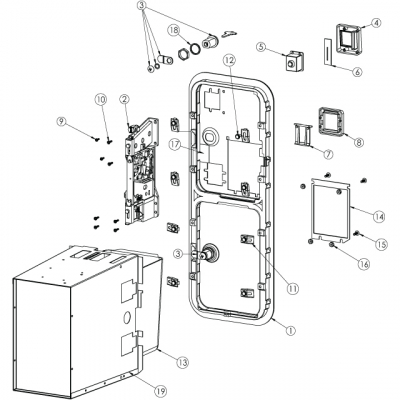 Door Clip for Over/Under Upstacker Validator Door - 42-0288-00 - Exploded View