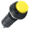 Miniature Round Pushbutton, Black Bezel, Yellow Center - 49-0577-05