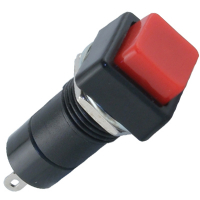 49-0578-00 - Miniature Square Pushbutton, Black Bezel, Red Center