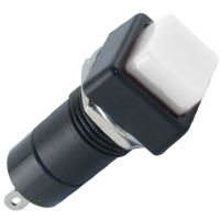 49-0578-11 - Miniature Square Pushbutton, Black Bezel, White Center