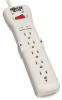 Tripp Lite light gray 2160 Joules 7-Outlet Surge Protector, 7 ft. Cord w/ Right-Angle Plug & LED - 49-5296-00