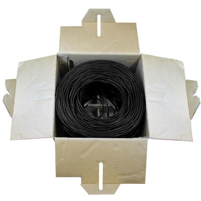 Cat5e Bulk Cable, 24 AWG, 1,000 ft., Black, Pull Box - 49-1192-00 - Item Photo