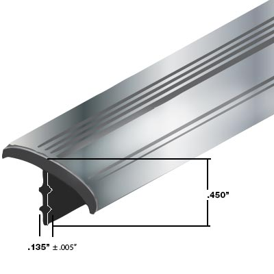 "T-Molding, Polished Chrome Plastic Metallic for 3/4"" Wood sold by the foot minimum 25 feet - 49-3114-00 - Item Photo"