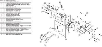Dual Pedal Assembly with Perforated Pedals, Harness & Potentiometer - 50-2978-30 - Exploded View