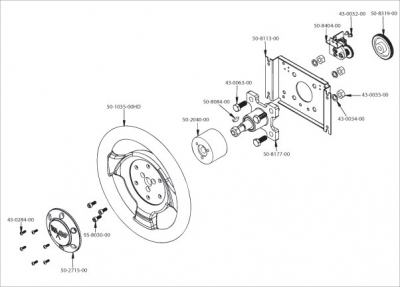 360° Steering Wheel Assembly - 50-2837-00 - Exploded View