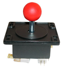 "Ms. Pacman 4-way Joystick w/ 1-1/4"" red ball knob  - 50-6084-1125R00 - Item Photo"