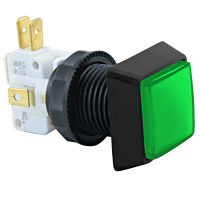 D54-0004-43 - Green Small square IPB Lamp w/.250 Microswitch #161