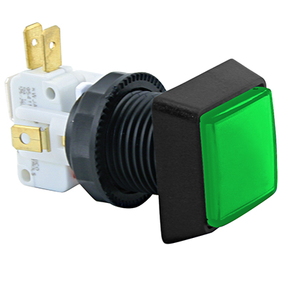 Small Square Green IPB, 14V #161 Lamp, .250 Microswitch - D54-0004-43 - Item Photo