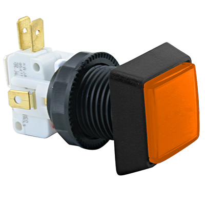 Small Square Amber (Orange) IPB, 14V #161 Lamp, .250 Microswitch - D54-0004-47 - Item Photo