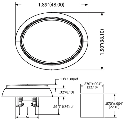Snap-Tab Oval Illuminated Pushbutton assembly w/o Halo - 57-1940-02 - Dimensional View
