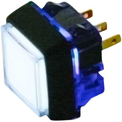 12V white Small Square Illuminated Snap-Tab Pushbutton w/ Halo - 57-1818-02 - Item Photo