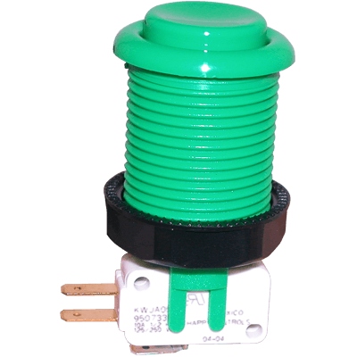Green Pushbutton with Horizontal Microswitch - 58-9133-L - Item Photo