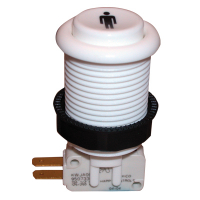 58-9111-L1PLY - White 1-Player Pushbutton w/ .187 horizontal microswitch