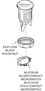 Green Competition Pushbutton - 58-9613-L - Exploded View
