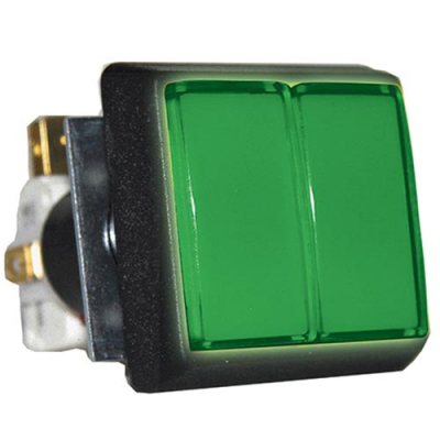 Green large square Dual IPB w/ .250 microswitch #161 - 54-0004-D333 - Item Photo