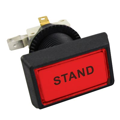 "Red Budget Posi-Lok Illuminated Button, Printed ""STAND"" - 54L-0004-510P13Z - Item Photo"