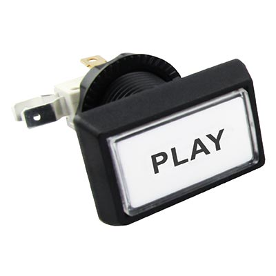 "White Budget Posi-Lok Illuminated Button, Printed ""Play"" - 54L-0004-518P6Z - Item Photo"