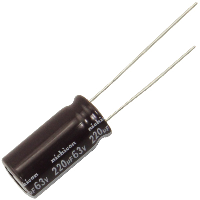 Radial Capacitor, 105 Degree, 63V, 220MF - 62-0077-105 - Item Photo