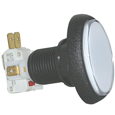 White clear cap Elliptical Illuminated Pushbutton w/ .250 microswitch - 75-6004-81 - Item Photo