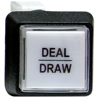 "White small square ""deal/draw"" button w/ .250 micrsowitch #658 - 75-6584-4180177 - Item Photo"