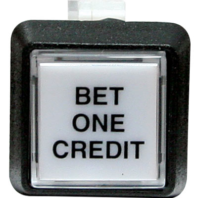 "White/clear cap small square ""Bet One Credit"" w/. 250 microswitch #658 - 75-6584-418HP593 - Item Photo"