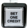 "White/clear cap small square ""Bet One Credit"" w/. 250 microswitch #658 - 75-6584-418HP593"