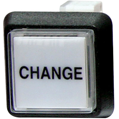 """Change"" Small Square Button White With Clear Cap - 75-6584-418HP609 - Item Photo"