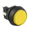 Small Round Yellow Combo Illuminated Pushbutton - 75V-0004-25