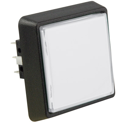 Large Square White Combo Illuminated Pushbutton - 75V-0004-31 - Item Photo