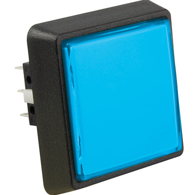 Large Square, Blue Combo Illuminated Pushbutton - 75V-0004-32 - Item Photo
