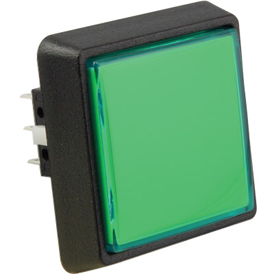 Large Square Green Combo Illuminated Pushbutton - 75V-0004-33 - Item Photo